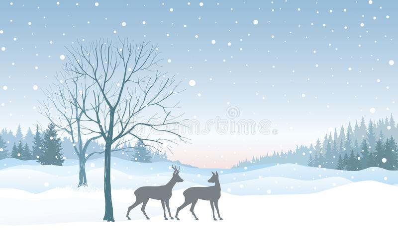 Christmas background. Snow winter landscape skyline with deers. Merry Christmas wallpaper design. Christmas background. Snow winter landscape skyline with deers vector illustration