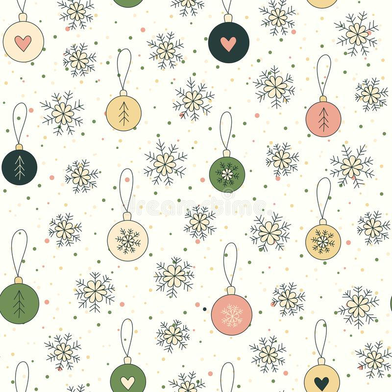 Christmas background with snowflakes and balls vector illustration