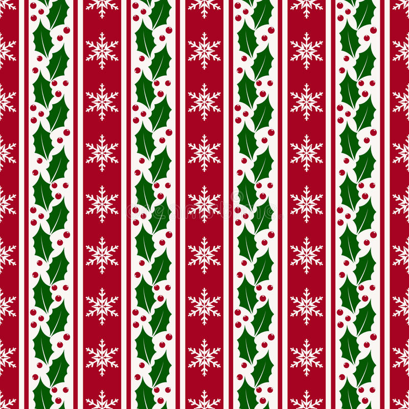 Christmas background with snowflakes and holly. Vector seamless stock illustration