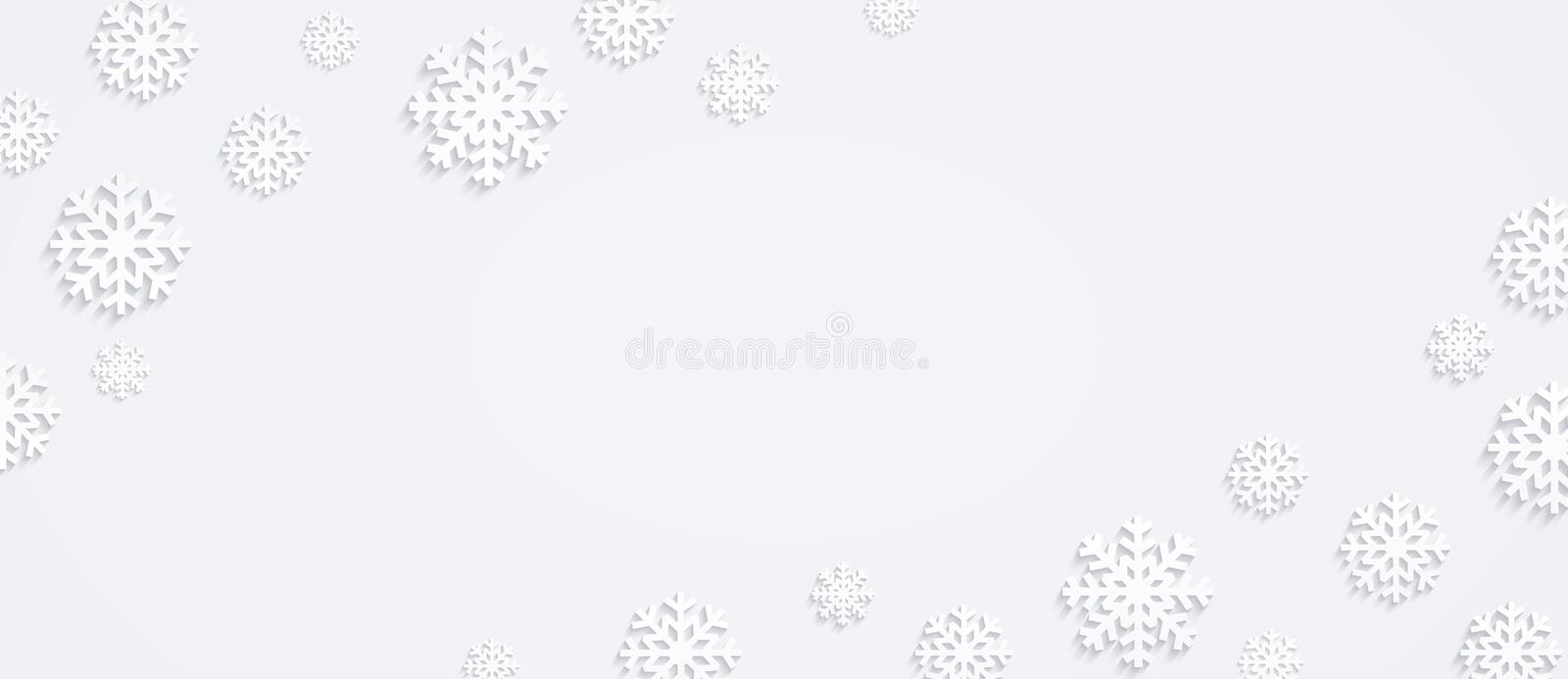 Christmas background with snowflakes, horizontal winter composition, flat design of snowflakes, top view stock illustration