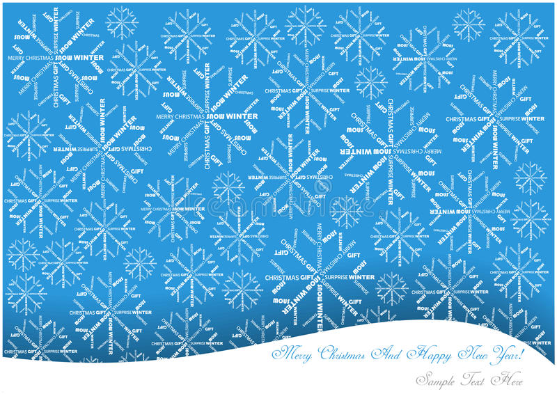 Christmas background with snowflakes made of words. Color christmas background with snow flakes made of letters stock illustration