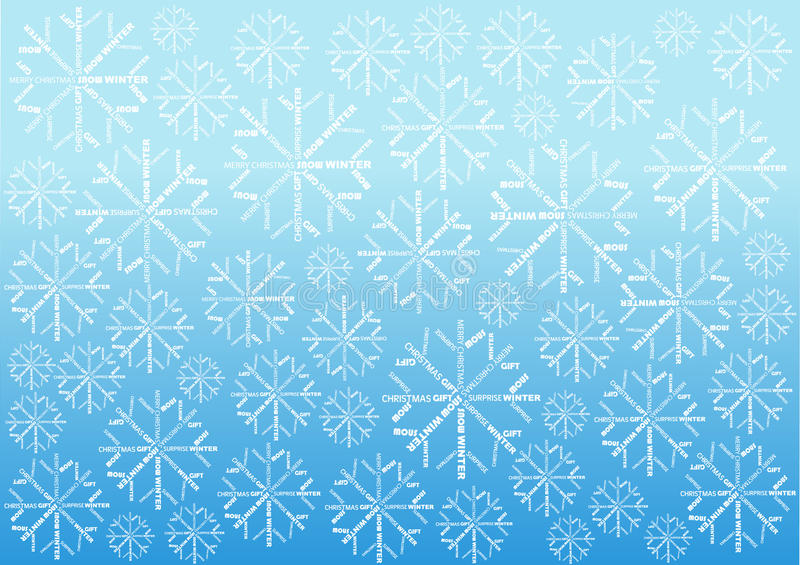 Christmas background with snowflakes made of words. Color christmas background with snow flakes made of letters royalty free illustration