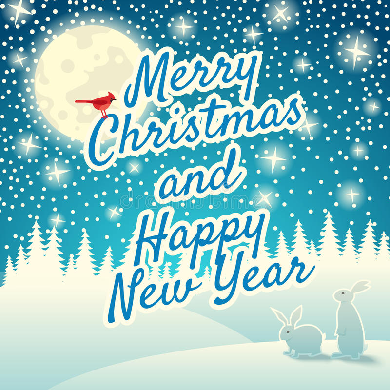 Christmas background with snowflakes, moon, hares and bird. Merry Christmas and Happy New Year royalty free illustration