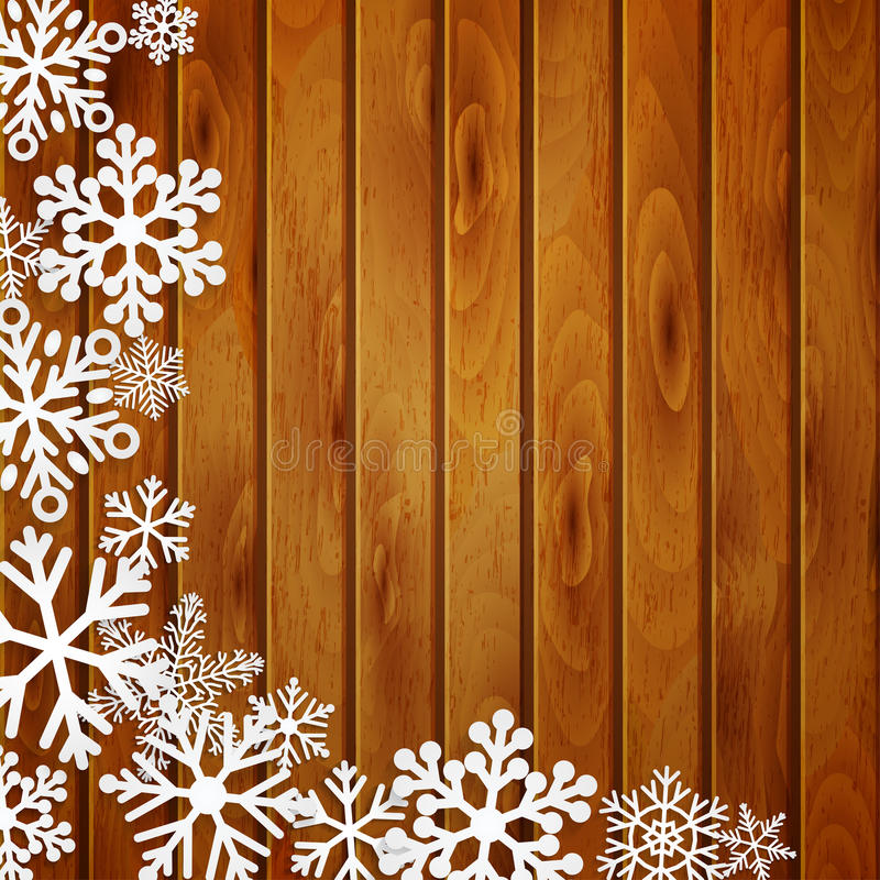 Christmas background with snowflakes on wooden planks. Christmas background with white snowflakes on brown wooden planks royalty free illustration