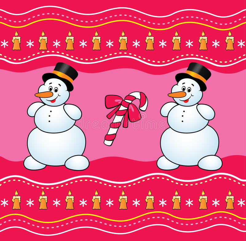 Christmas background with snowman and candy. vector illustration