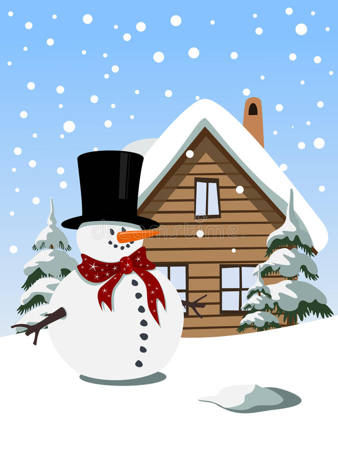 Christmas background with snowman royalty free illustration