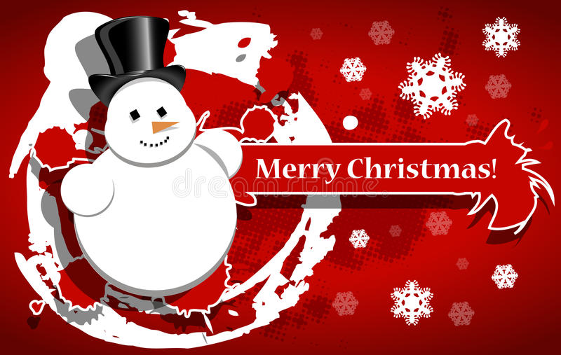 Download Christmas Background With A Snowman Stock Vector - Image: 35111822