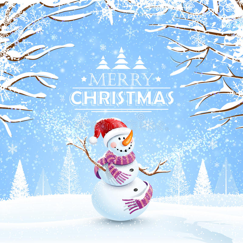 Christmas background with snowman vector illustration