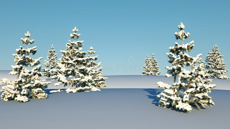 Christmas background with snowy fir trees. 3d render vector illustration