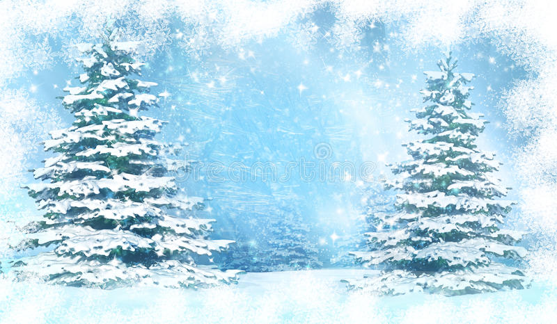 Christmas background with snowy fir trees. stock photography