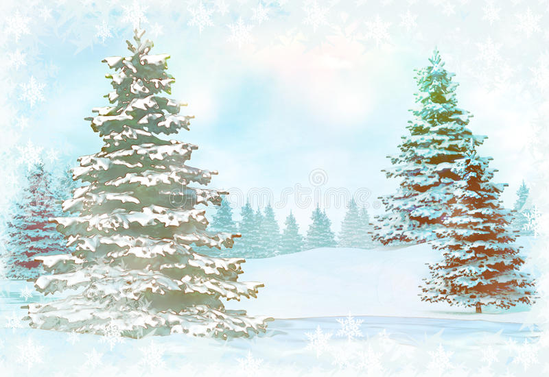 Christmas background with snowy fir trees. royalty free stock photography