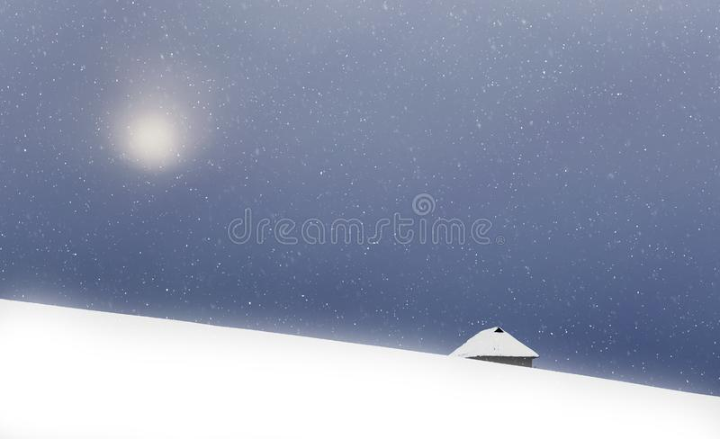 Christmas background of snowy winter landscape with snow or hoarfrost covered fir trees and copy space - winter magic holiday royalty free stock images