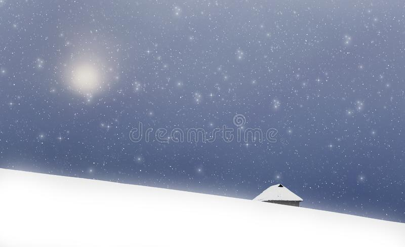 Christmas background of snowy winter landscape with snow or hoarfrost covered fir trees and copy space - winter magic holiday royalty free stock image