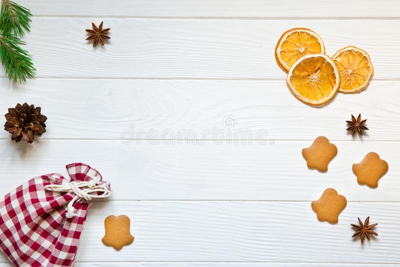 Christmas background, gingerbread cookies, free space for greeting, copy space. royalty free stock photo