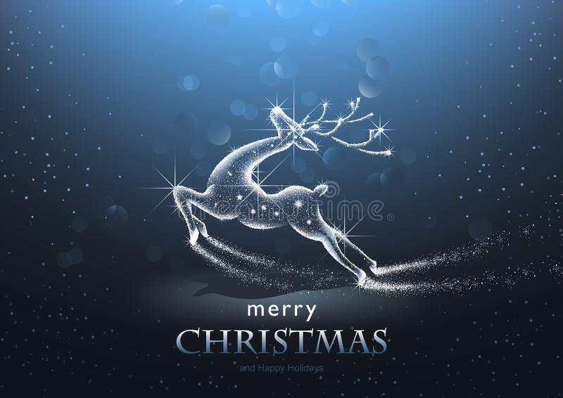 Christmas Background with Starry Deer vector illustration
