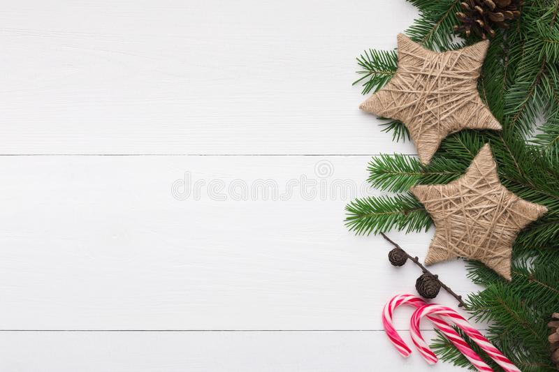 Christmas background with stars in vintage style and lollipop stock photo