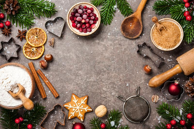 Christmas background. Table for holiday baking cookies with ingredients royalty free stock photos