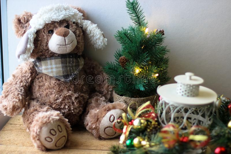 Christmas background with a teddy. Bear royalty free stock photo