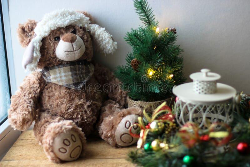 Christmas background with a teddy. Bear royalty free stock photos