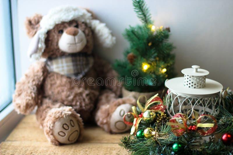 Christmas background with a teddy. Bear stock photo