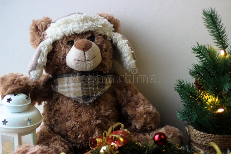 Christmas background with a teddy. Bear stock images