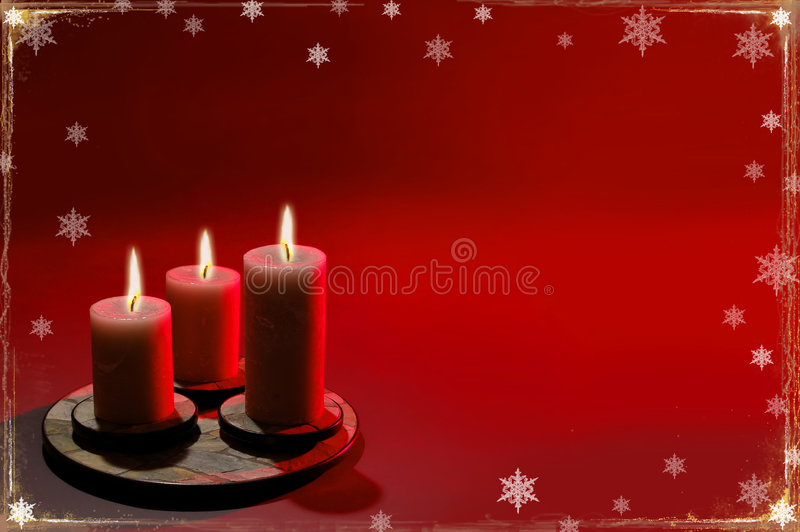 Christmas Background With Three Candles stock images