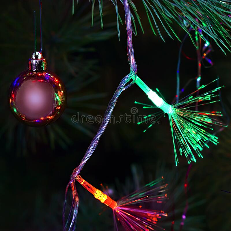 Christmas background of tinsel and garlands stock photo