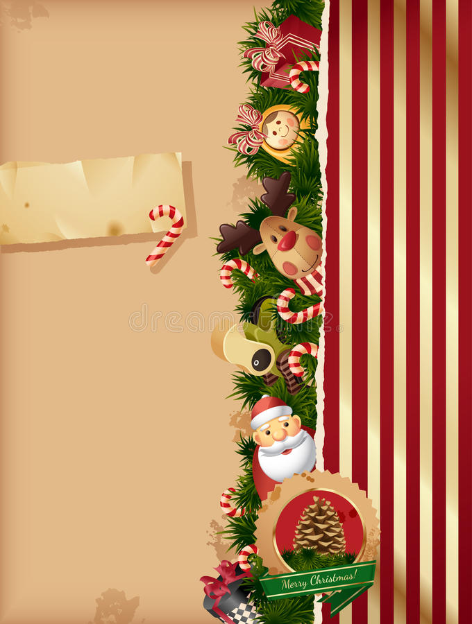 Christmas background- tors and old paper royalty free illustration