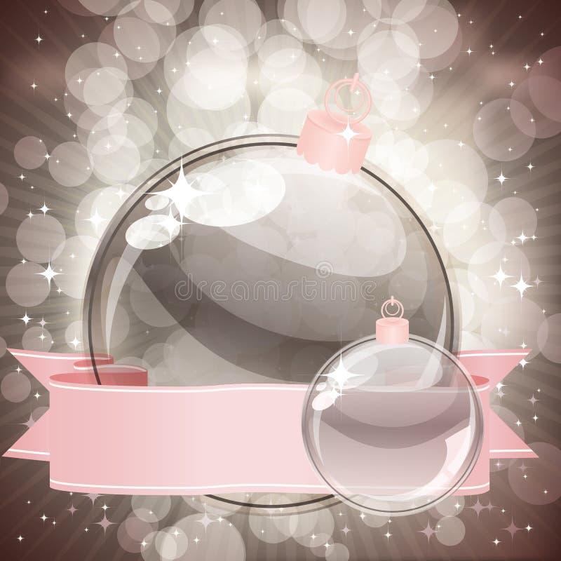 Christmas background with transparent balls stock photos