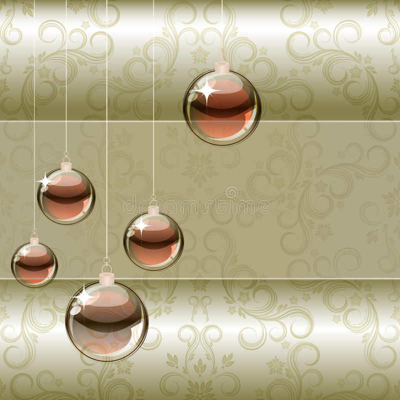 Christmas background with transparent balls royalty free stock photos