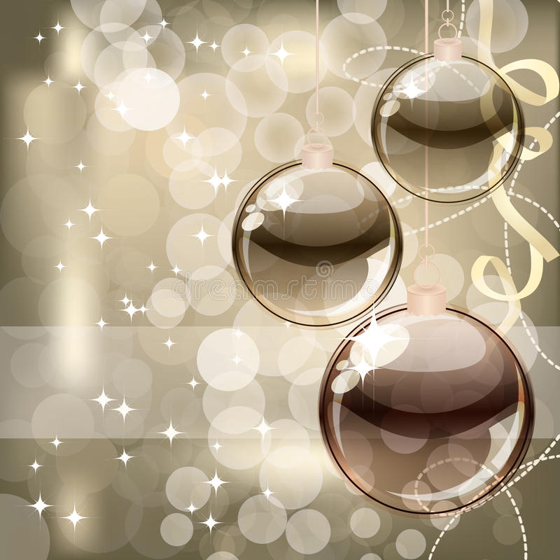 Christmas background with transparent balls stock image