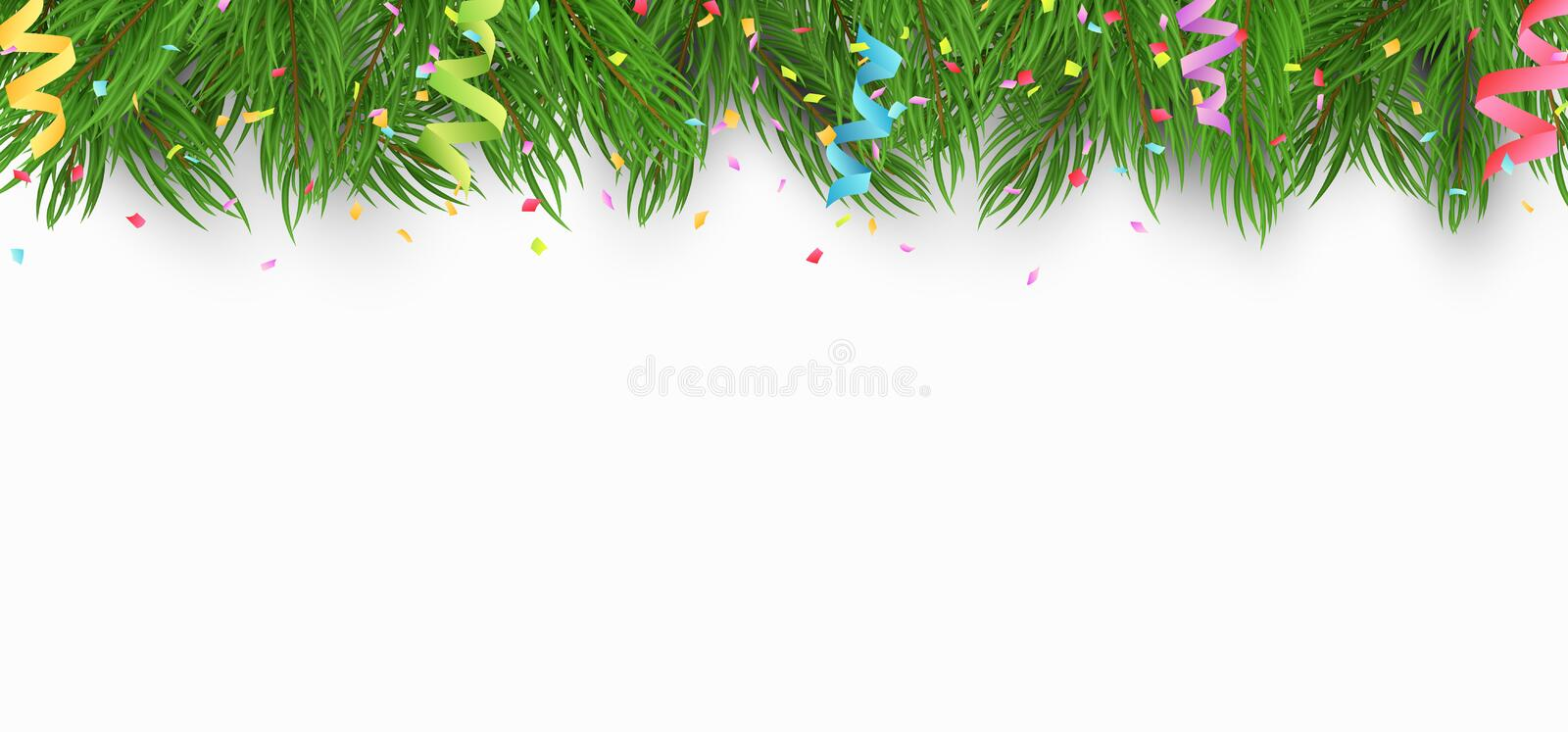 Christmas background with Christmas tree and multicolor paper confetti. White background. Template for your project. Vector. Illustration stock photography