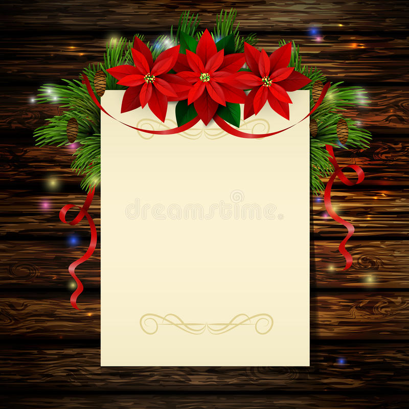 Christmas background with tree. Christmas background with paper ribbon and lights on a wooden wall with free space with poinsettia stock illustration