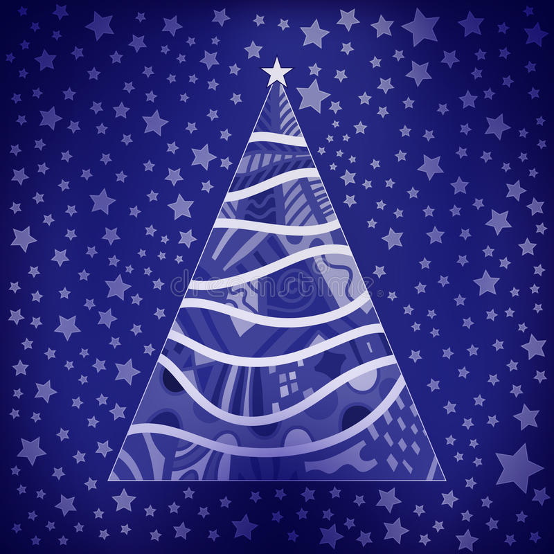 Download Christmas Background With Tree And Stars Stock Illustration - Image: 20498442