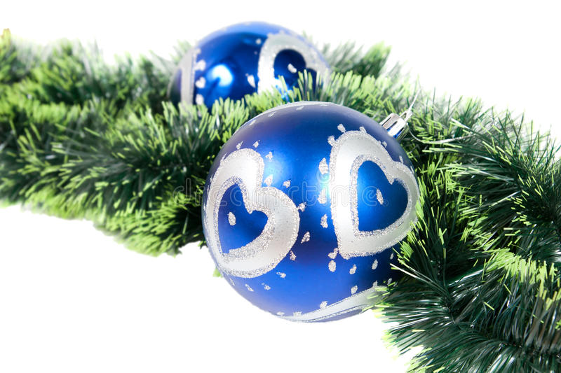 Christmas background with two blue balls stock photography