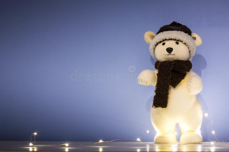 Christmas background, wallpaper with toy polar bear stock photography
