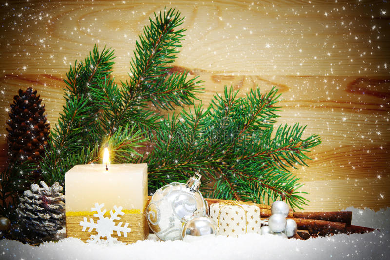 Christmas background with white advent candle. Advent candle stock photo