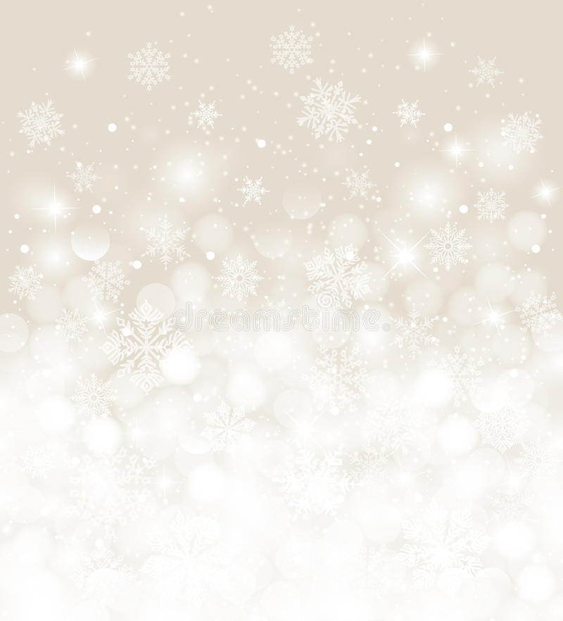 Christmas background white and ecru blurred with snowfall and copy space royalty free illustration