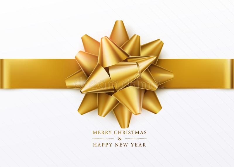 Christmas background. White gift box with golden bow and horizontal ribbon stock illustration