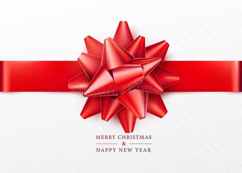 Christmas background. White gift box with red bow and horizontal ribbon. Top view. Greeting text sign. Merry xmas and happy new year. Vector illustration royalty free illustration