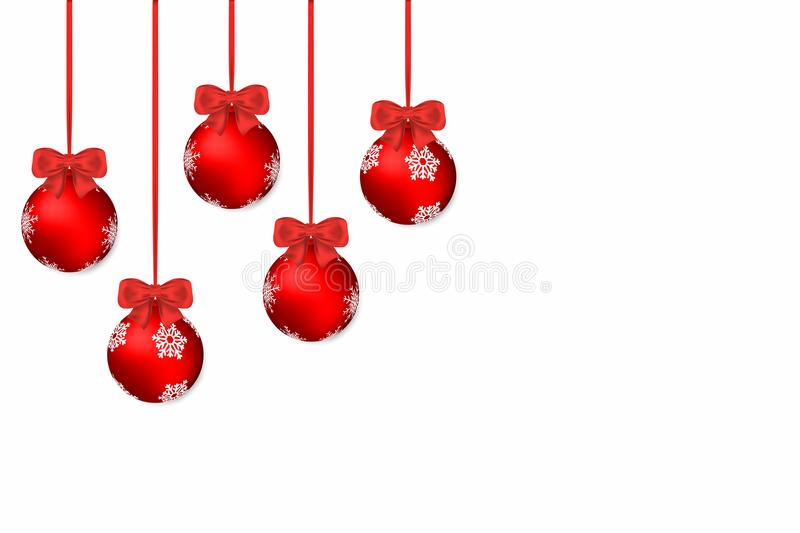 Christmas background. White holiday background with red christmas balls and bows royalty free illustration