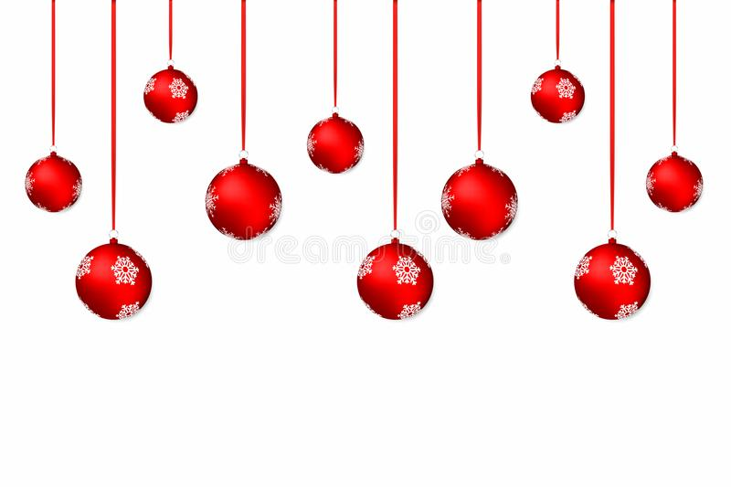 Christmas background. White holiday background with red christmas balls and ribbons vector illustration