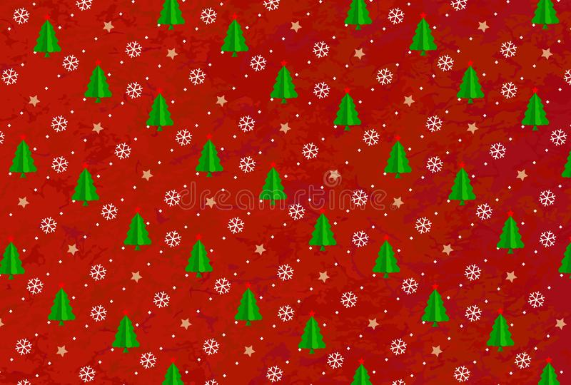 Christmas Tree On Red And Gold Background Stock