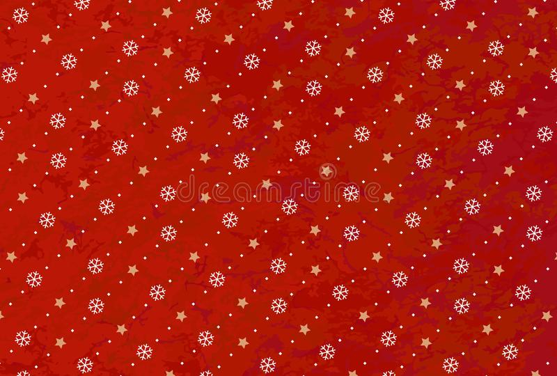 Christmas background of white snowflakes and golden stars on a red background. Design for christmas packaging. Vector royalty free illustration