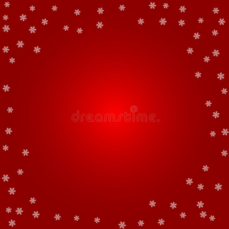 Christmas background. White snowflakes on a red royalty free illustration