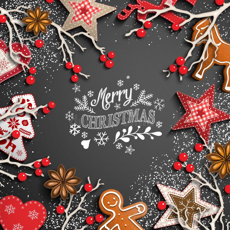 Christmas background with white text and decorations vector illustration
