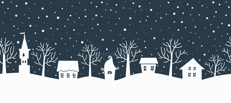 Christmas background. Winter landscape. Seamless border vector illustration
