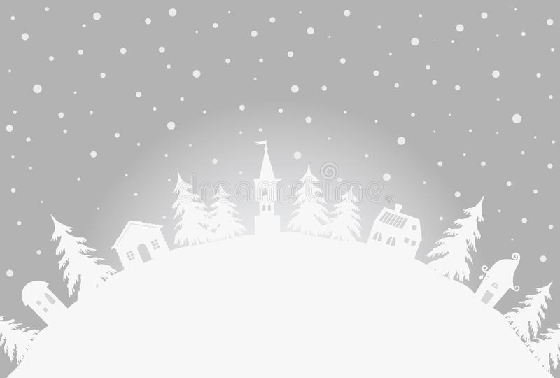 Christmas background. Winter village stock illustration