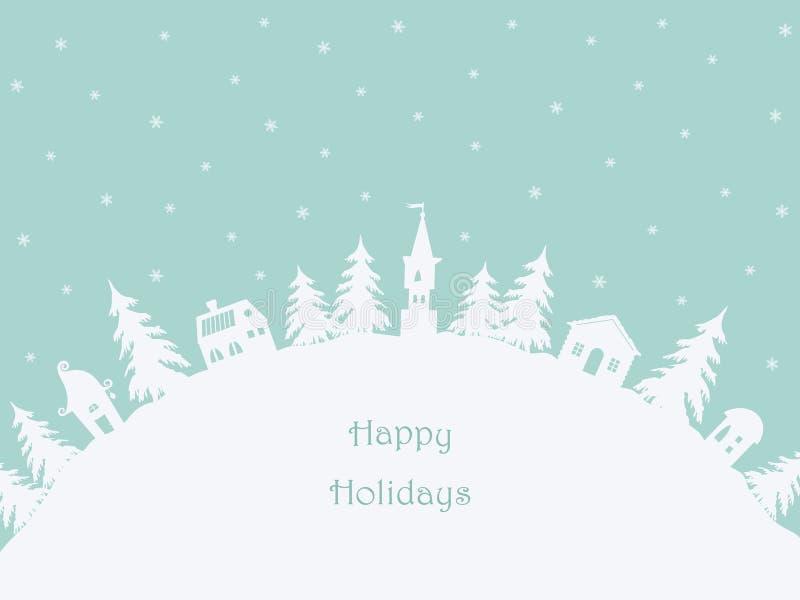 Christmas background. Winter village. Greeting card royalty free illustration