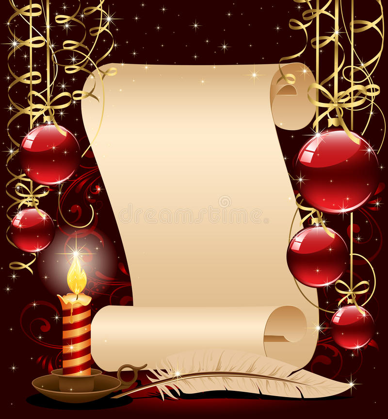 Free Christmas Background With Candle, Paper And Feathe Stock Photography - 17309182